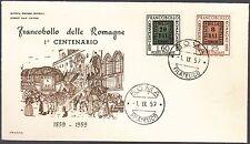 ITALIA BUSTA FDC ITALIA 1959 100° FRANCOBOLLO ROMAGNE  ANNULLO ROMA