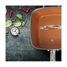 Copper Pan 9.5 Inch Non-stick Deep Square Induction Fry Pan with Glass Lid