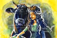 Kunst Poster Druck Aquarell 29x20cm matt Gemälde Frau Tier Rind Europa vegan