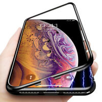 Magnetic Adsorption Flip Metal Case for iPhone X XR XS Max Tempered Glass Cover