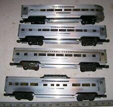 4 X Lionel 2530 Series Aluminum Super Streamliner Lighted Passenger Train Cars