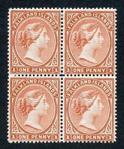 Falkland Is SG23 1d Pale red M/M BLOCK