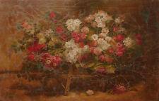 Mazzo di fiori - Natura Morta - Dipinto anticato metà 1900 - 92x59 cm