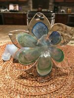 Cristalleria Arzanese Blown Italian Glass Twisted Stem Flower  Murano Italy