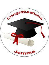 """Novità personalizzato LAUREATO 7,5 """"wafer commestibile carta CAKE TOPPER graduazione"""