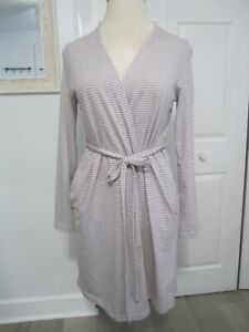 Bump In The Night Nursing Gown Robe Maternity Pink Gray Stripe Size Large