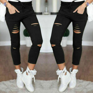 Ladies Skinny Jegging Womens Ripped Stretchy Jeans Leggings Plus Sizes UK 10-22