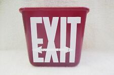 PERFECLITE GLASS EXIT SIGN GLOBE ~ 2 SIDED w/ ARROWS ~ DARK RED ~ CEILING MOUNT