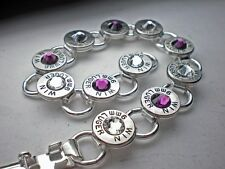 9mm Winchester Nickel Bullet Bracelet Purple Passion Crystal Swarovski Stones