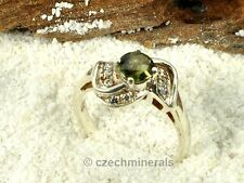 Moldavite + cubic zirconia Faceted RING Silver.925 US 8 - 22.3ct #RING553