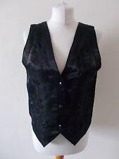 Women's Black Embroidery Semi Sheer V Neck Waistcoat Vest Next  Size 12