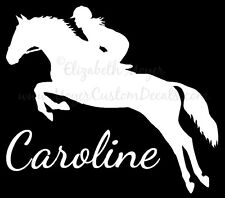Personalized Jumping Hunter Jumper Horse Decal Sticker CHOOSE COLOR & NAME