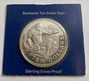 1976 BARBADOS  SILVER PROOF TEN DOLLARS With COA
