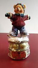 Resin Winter Snowboard Bear Trinket Candy Box - Christmas - Holiday - Rare