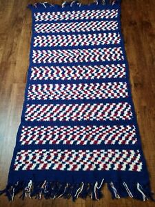 "Vintage Afghan Handmade Blanket Throw Fringes Blue White Burgundy Pink 40""x80"""