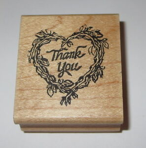 Heart Wreath Rubber Stamp Branches THANK YOU Hampton Art Retired Wood Mounted