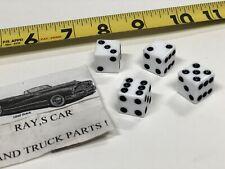 NEW SET OF 4 WHITE DICE TIRE VALVE STEM CAPS ! CAR / TRUCK / BIKE !