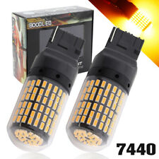 2X 7440 T20 LED CANBUS 144SMD W21W Amber Car Turn Signal Light Reverse Lamp Bulb