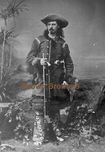 1870 Young Buffalo Bill Cody Wild West Show Western Costume Glass Photo Negative