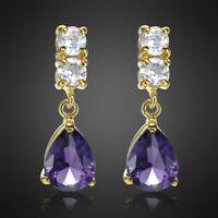 Modeschmuck Damen Geschenk 18K Gold Vergoldet Lila Amethyst Birne Ohrringe