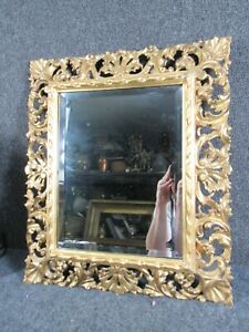 """ANTIQUE ITALIAN HAND CARVED & GOLD GILT PAINTING MIRROR FRAME, FITS 14X11"""" INCH"""