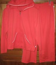 Style & Co Sport Women's Track Sweat Suit Crop Pants Hoodie Set Orange S M