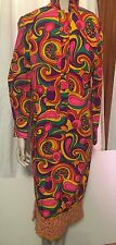 Psychedelic Vintage 70s Bright Multi-Colored Bohemian Hippie Dress, Size 8