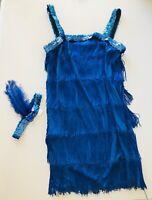 Blue Flapper Dress & Feather Headband Sequins Fringe Halloween Theater Small 4-6