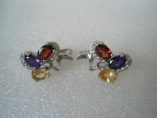 Natural MULTI COLOR AMETHYST, GARNET, CITRINE & CZ STERLING 925 SILVER EARRINGS