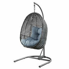 Better Homes & Gardens Lantis Patio Wicker Hanging Chair With Stand and Blue CUS