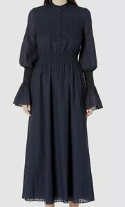 Adam Lippes Womens Blue Puff-Sleeve Smocked Jewel-Neck Silk A-Line Dress Size 10