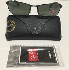New Authentic RayBan RB3498 002/9A 64mm Black Green Polarized Lenses