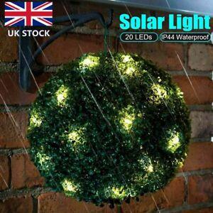 Artificial Hang Topiary Buxus Balls Solar Light Faux Boxwood Plant Garden Patio
