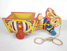 Vtg 1950's Fisher Price Cart Pull Toy #401 Egg Basket Easter Bunny Wagon Wood
