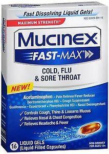 Mucinex Fast-Max Cold, Flu & Sore Throat Liquid Gels - 16 ct, Pack of 5
