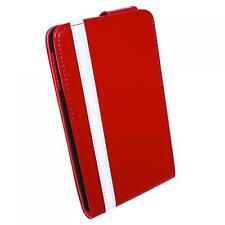Luxus Handy Klapp Tasche Hülle Samsung Galaxy Note N7000 i9220 Rot Weiss Case