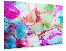 STUNNING COLOURFUL ABSTRACT FLOWERS CANVAS PICTURE PRINT 3544