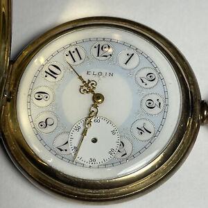 Fresh 1905 Elgin Fancy Dial & Case 16s Double Hunter Pocket Watch