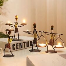 Metal Candlestick Abstract Character Sculpture Candle Holder Decor Handmade