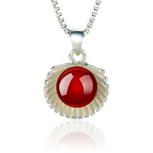 Jewellery 925 Sterling Silver Shell Red Natural Agate Pendant Necklace Xmas Gift