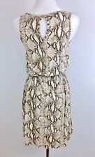 H&M Women's Dress Snake Print Beige Sundress Sleeveless, Sz Small
