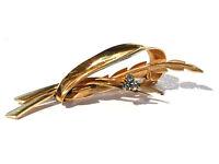Broche plaqué or 18 carats broche cristal saphir  brooch