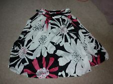 PRIMARK  FLORAL SKIRT Jive swing /ROCKABILLY/GOGO/50s Black Pink white