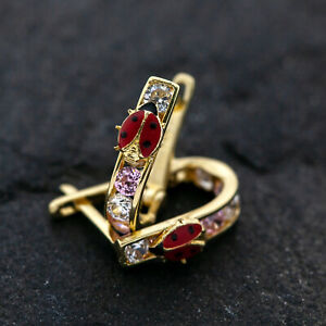 Gold Ohrringe 585er 14Kt Gelbgold Marienkäfer Kindercreolen mit Zirkonia