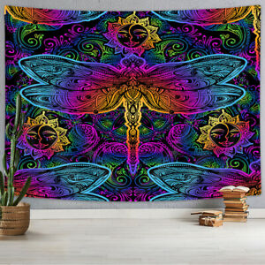 Abstract Colored Dragonfly Tapestry for Bedroom Living Room Dorm Decor