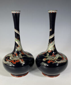 Antique Japanese Silver Wire Cloisonne Dragon Vases Pair With Mark