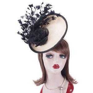 Womens Elegant Look Straw Sinamay Saucer Headpiece Fascinator Cocktail Hat T448