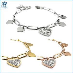 Bracciale da donna con cuore acciaio argento maglia lunga catena braccialetto