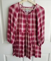 Maeve Anthropologie Womens Pink Plaid Calavon Peplum Tunic Top Shirt Size XS