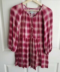 Maeve Anthropologie Womens Pink Plaid Calavon Peplum Tunic Top Shirt Size XS